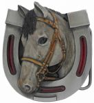 Horse Head and Shoe Belt Buckle with display stand (KM2)